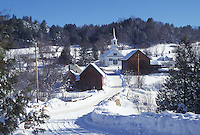 Vermont, VT, Scenic village of Waits River in the snow in the winter.