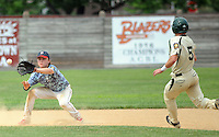 Doylestown second baseman Kyle Feasby awaits a throw to force out Pennridge's Jeff Roedell #5 in the fourth inning at Quakertown Memorial Park Sunday July 12, 2015 in Quakertown, Pennsylvania. Pennridge defeated Doylestown 17-2 in 6 innings due to a mercy rule. (Photo by William Thomas Cain)