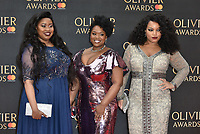 Moya Angela, Marisha Wallace and Karen Mav of Dreamgirls <br /> The Olivier Awards 2018 , arrivals at The Royal Albert Hall, London, UK -on April 08, 2018.<br /> CAP/PL<br /> &copy;Phil Loftus/Capital Pictures