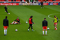 Blackpool players warm up before the match<br /> <br /> Photographer Alex Dodd/CameraSport<br /> <br /> The EFL Sky Bet League One - Barnsley v Blackpool - Saturday 27th April 2019 - Oakwell - Barnsley<br /> <br /> World Copyright © 2019 CameraSport. All rights reserved. 43 Linden Ave. Countesthorpe. Leicester. England. LE8 5PG - Tel: +44 (0) 116 277 4147 - admin@camerasport.com - www.camerasport.com
