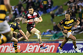 Sonny Bill Williams takes on Teihorangi Waldren as he attacks through the midfield. Mitre 10 Cup rugby game between Counties Manukau Steelers and Taranaki Bulls, played at Navigation Homes Stadium, Pukekohe on Saturday August 10th 2019. Taranaki won the game 34 - 29 after leading 29 - 19 at halftime.<br /> Photo by Richard Spranger.