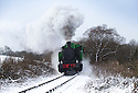 27/12/14<br /> <br /> A steam train makes its way along snowy tracks on the Churnet valley Railway near Leek in the Staffordshire Peak District after 15 cm of snow fell overnight.<br /> <br /> All Rights Reserved - F Stop Press. www.fstoppress.com. Tel: +44 (0)1335 300098