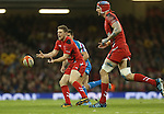 Outside half Rhys Priestland moves the ball out to the Wales backs.<br /> RBS 6 Nations 2014<br /> Wales v Italy<br /> Millennium Stadium<br /> 01.02.14<br /> <br /> ©Steve Pope-SPORTINGWALES