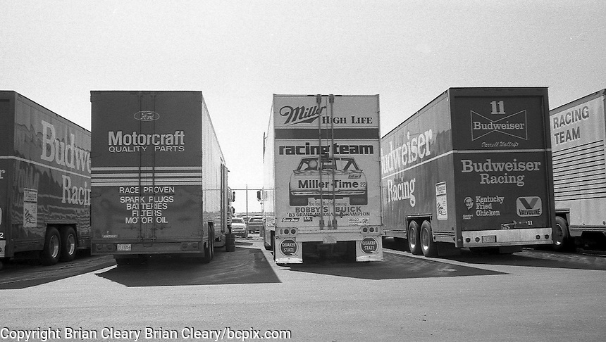 Race car transporters hauler garage area Daytona 500 at Daytona International Speedway in Daytona Beach, FL in February 1985. (Photo by Brian Cleary/www.bcpix.com) Daytona 500, Daytona International Speedway, Daytona Beach, FL, February 1985. (Photo by Brian Cleary/www.bcpix.com)