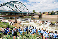 People enjoy the cooling waters of the South Platte River and Cherry Creek at Confluence Park in Denver, Colorado, Monday, July 20, 2015.<br /> <br /> Photo by Matt Nager
