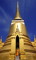 Thailand. Bangkok.  Wat Phra Keo - Temple of the Emerald Buddha.  Golden Stupa erected by Rama IV<br />