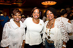 WATERBURY,  CT-062318JS23--Event co-chair Carolyn Highsmith with group president Adrienne Parkman and fellow co-chair Michelle James, at the &quot;Jazz and Jeans&quot; wine tasting hosted by the Waterbury Chapter of The Links at the Palace Theater in Waterbury. <br />  Jim Shannon Republican American