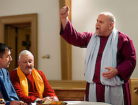 Cast members, from left, Mike Helsey, John Schlupp and Tom Ruffler rehearse the Last Supper at Trinity Lutheran Church Monday March 30, 2015 in Quakertown, Pennsylvania. The group will perform the Last Supper Thursday at 7p as they have done for the past 14 years. (Photo by William Thomas Cain/Cain Images)