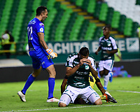 PALMIRA - COLOMBIA, 17-09-2019: Carlos Rodriguez del Cali reacciona después del gola de Alianza durante el partido entre Deportivo Cali y Alianza Petrolera por la fecha 11 de la Liga Águila II 2019 jugado en el estadio Deportivo Cali de la ciudad de Palmira. / Carlos Rodriguez of Cali reactas after the goal scored by Alianza during match for the date 11 between Deportivo Cali and Alianza Petrolera of the Aguila League II 2019 played at Deportivo Cali stadium in Palmira city. Photo: VizzorImage / Nelson Rios / Cont