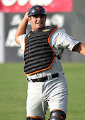 August 16, 2003:  Catcher Izzy Molina of the Aberdeen Ironbirds, Class-A affiliate of the Baltimore Orioles, during a game at Falcon Park in Auburn, NY.  Photo by:  Mike Janes/Four Seam Images