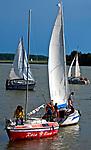 2009-08-12. Żaglówki na jeziorze Świecajty, Mazury.