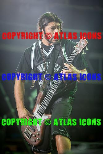 Robert Trujillo; bass; bassist; METALLICA; Live: 2012<br /> Photo Credit: JOSH WITHERS/ATLASICONS.COM