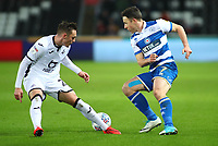11th February 2020; Liberty Stadium, Swansea, Glamorgan, Wales; English Football League Championship, Swansea City versus Queens Park Rangers; Marc Pugh of Queens Park Rangers turns inside as Connor Roberts of Swansea City closes in for the challenge