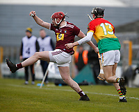 8th March 2020; TEG Cucack Park, Mullingar, Westmeath, Ireland; Allianz Hurling Division 1 , Westmeath versus Carlow; Darragh Egerton (Westmeath) holds off a challenge from Ted Joyce (Carlow)