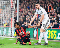 Nathan Ake of AFC Bournemouth is helped up by Matt Doherty of Wolverhampton Wanderers during AFC Bournemouth vs Wolverhampton Wanderers, Premier League Football at the Vitality Stadium on 23rd February 2019