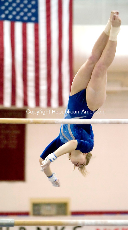 SOUTHBURY, CT  25 FEBRUARY 2005 -022506JS01-Nonnewaug's Chelsie Eckman competes on the bars during the Class S CIAC State Gymnastics Championships held Saturday at Pomperaug High School in Southbury.   --- Jim Shannon Republican-American --Chelsie Eckman, Nonnewaug, Pomperaug are CQ