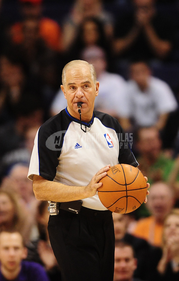 Jan. 14, 2011; Phoenix, AZ, USA; NBA referee NBA referee Bennett Salvatore during the game between the Portland Trailblazers against the Phoenix Suns at the US Airways Center. The Suns defeated the Trailblazers 115-111. Mandatory Credit: Mark J. Rebilas-