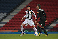 Steven Thompson watches Adam Matthews in the St Mirren v Celtic Scottish Communities League Cup Semi Final match played at Hampden Park, Glasgow on 27.1.13.