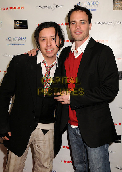 "CARLOS RAMIREZ & AL SANTOS.""2 Dudes and a Dream"" Los Angeles Premiere at Arclight Cinemas, Hollywood, California, USA..February 3rd, 2009.half length black jacket red sweater top  stubble facial hair .CAP/ADM/BP.©Byron Purvis/AdMedia/Capital Pictures."