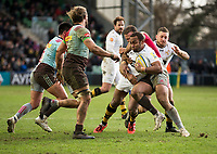Wasps' Gaby Lovobalavu in action during todays match<br /> <br /> Photographer Bob Bradford/CameraSport<br /> <br /> Aviva Premiership Round 14 - Harlequins v Wasps - Sunday 11th February 2018 - Twickenham Stoop - London<br /> <br /> World Copyright &copy; 2018 CameraSport. All rights reserved. 43 Linden Ave. Countesthorpe. Leicester. England. LE8 5PG - Tel: +44 (0) 116 277 4147 - admin@camerasport.com - www.camerasport.com