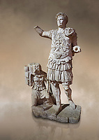Roman statue of Emperor Trajan. Marble. Perge. 2nd century AD. Inv no11.13.79 . Antalya Archaeology Museum; Turkey. Against a warm art background.