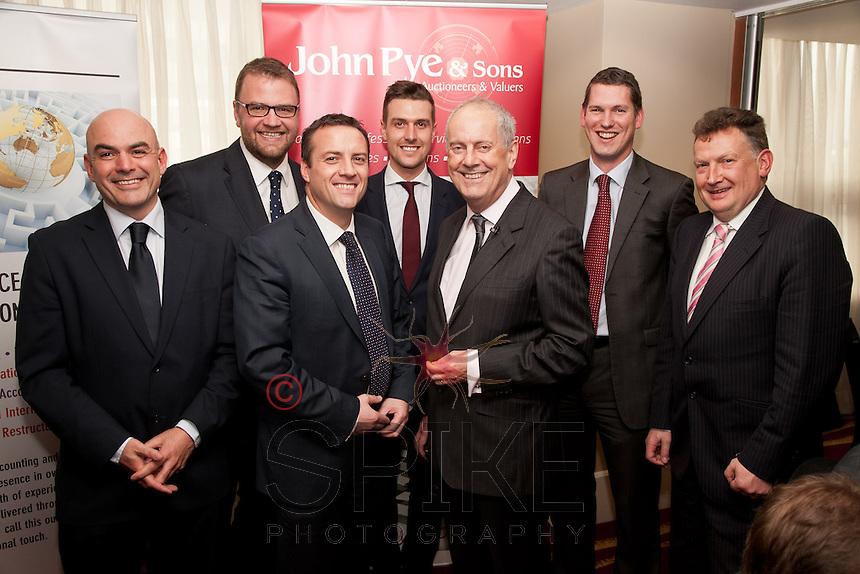 Left to right are Charles Loake, Trevor Palethorpe, Adam Pye and Richard Reed all from John Pye & Sons, Gyles Brandreth, Sheldon Miller of John Pye and Brandan Wlash of Shakespeares