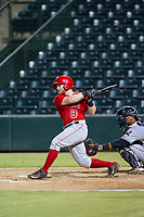 AZL Angels second baseman Zane Gurwitz (8) bats during a game against the AZL Indians on August 7, 2017 at Tempe Diablo Stadium in Tempe, Arizona. AZL Indians defeated the AZL Angels 5-3. (Zachary Lucy/Four Seam Images)