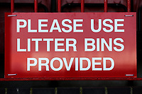 Litter bins signage during Dagenham & Redbridge vs Wrexham, Vanarama National League Football at the Chigwell Construction Stadium on 13th October 2018