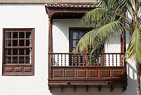 Spain, Canary Islands, La Palma, Santa Cruz de La Palma: capital - old town, balcony