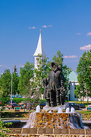 First family statue in the Golden Heart Plaza in downtown Fairbanks, Alaska