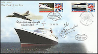 BNPS.co.uk (01202 558833)<br /> Pic: ChaucerAuctions/BNPS<br /> <br /> ***Please Use Full Byline***<br /> <br /> FYI:  Mike Banister &amp; Capt Warwick QE2 Captain signed Internetstamps 2008 QE2 End of and Era Concorde illustrated &amp; Stamped cover.<br /> <br /> Legendary airline pilot Mike Bannister is selling 100,000 pounds worth of his Concorde memorabilia so he can fund his daughter through flying school.<br /> <br /> Amy Bannister, 20, is hoping to following in her father's jet-stream to become a commercial airline pilot and is currently at a flight training school in Spain.<br /> <br /> The prestigious course is costing her a six figure sum.<br /> <br /> Her father Mike, 65, didn't want her burdened with debt at the start of her career and so stripped his study of Concorde relics, including cockpit instruments, and has put them up for sale at auction.