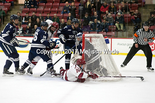 John Hayden (Yale - 21), Anthony Walsh (Yale - 16), Lewis Zerter-Gossage (Harvard - 77), Adam Larkin (Yale - 2), Ryan Donato (Harvard - 16), Sam Tucker (Yale - 1) - The Harvard University Crimson defeated the Yale University Bulldogs 6-4 in the opening game of their ECAC quarterfinal series on Friday, March 10, 2017, at Bright-Landry Hockey Center in Boston, Massachusetts.