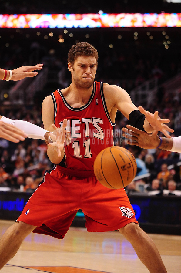 Jan. 20, 2010; Phoenix, AZ, USA; New Jersey Nets center (11) Brook Lopez against the Phoenix Suns at the US Airways Center. The Suns defeated the Nets 118-94. Mandatory Credit: Mark J. Rebilas-