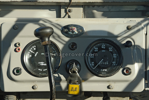 Dash and instrument panel of historic 1950s Landrover Series 1 86/88/107in. Europe, UK, England. --- Automotive trademarks are the property of the trademark holder, authorization may be needed for some uses.