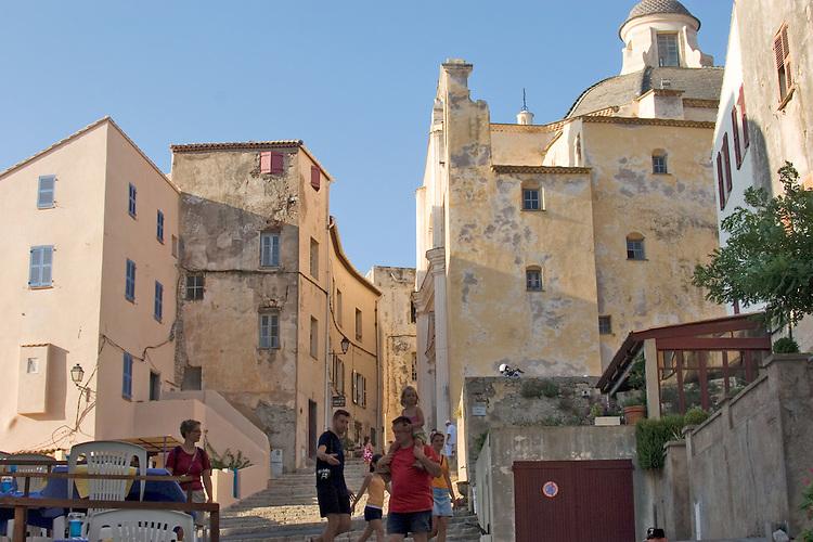 Narrow streets, the Calvi Citadel, Calvi; Calvi, Northwest coast of Corsica, France, Mediterranean Coast, Coastal towns in Corsica,