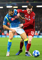 Liverpool's Andrew Robertson battles with Napoli's Nikola Maksimovic<br /> <br /> Photographer Richard Martin-Roberts/CameraSport<br /> <br /> UEFA Champions League Group C - Liverpool v Napoli - Tuesday 11th December 2018 - Anfield - Liverpool<br />  <br /> World Copyright © 2018 CameraSport. All rights reserved. 43 Linden Ave. Countesthorpe. Leicester. England. LE8 5PG - Tel: +44 (0) 116 277 4147 - admin@camerasport.com - www.camerasport.com
