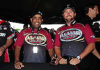 Jun. 2, 2012; Englishtown, NJ, USA: NHRA top fuel dragster driver Shawn Langdon (right) and teammate Khalid Albalooshi during qualifying for the Supernationals at Raceway Park. Mandatory Credit: Mark J. Rebilas-