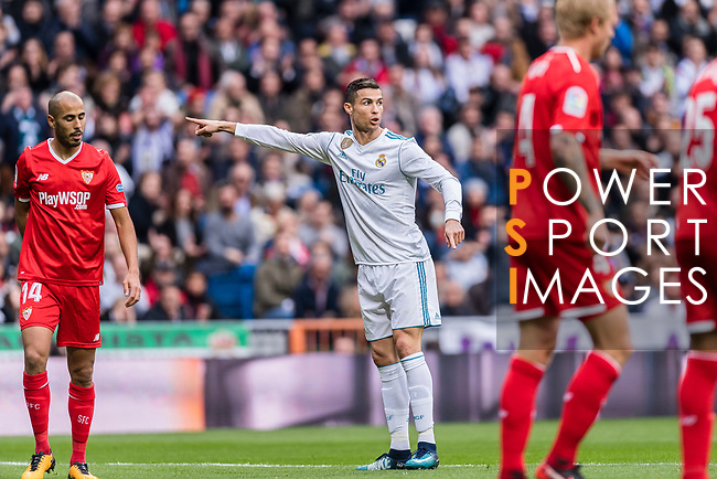 Cristiano Ronaldo of Real Madrid (C) gestures during the La Liga 2017-18 match between Real Madrid and Sevilla FC at Santiago Bernabeu Stadium on 09 December 2017 in Madrid, Spain. Photo by Diego Souto / Power Sport Images