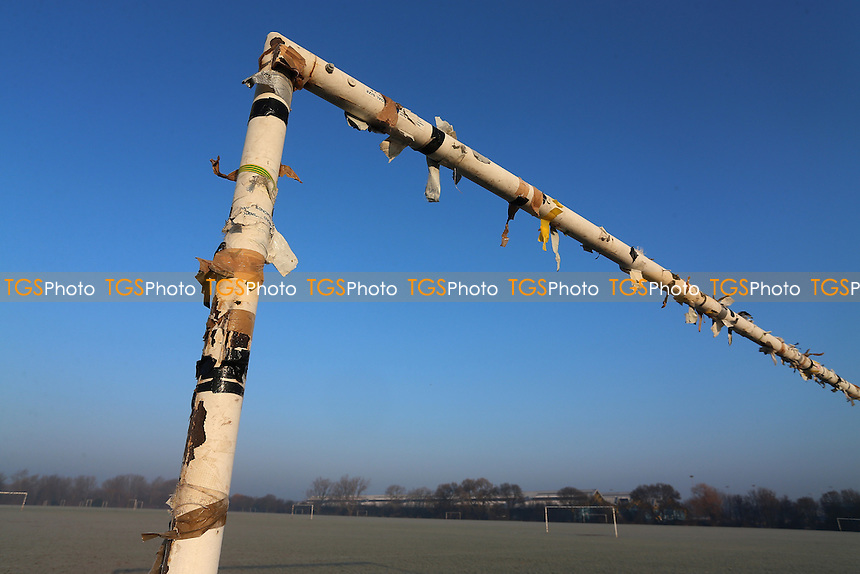 General view of tape on goalposts. Freezing temperatures and a hard overnight frost bring about the postponement of dozens of Hackney & Leyton Sunday League Football matches at Hackney Marshes on 22nd January 2017