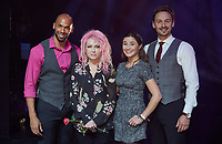 """The performer Gino Emnes (L-R), singer Cyndi Lauper and the actors Jeannine Wacker und Dominik Hees on stage of the Operettenhaus during a press showing of the musical """"Kinky Boots"""" in Hamburg, Germany, 28. September 2017. The Germany premiere will be on the 3rd of December. Photo: Georg Wendt/dpa /MediaPunch ***FOR USA ONLY***"""