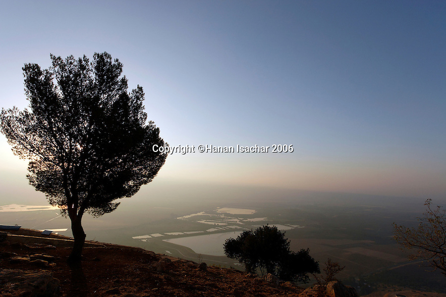 Israel, the Upper Galilee. A view of the Hula Valley from Keren Naphtali