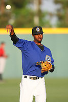 May 14 2009: P.J.Phillips of the Rancho Cucamonga Quakes before game against the High Desert Mavericks at The Epicenter in Rancho Cucamonga,CA.  Photo by Larry Goren/Four Seam Images
