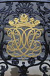 Gold ironwork detail Stiftsgarden palace in city of Trondheim,  Norway