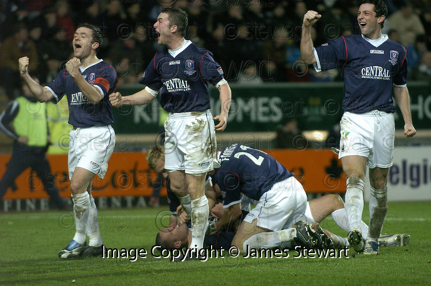 29/12/2007    Copyright Pic: James Stewart.File Name : sct_jspa14_falkirk_v_hearts.MICHAEL HIGDON IS CONGRATULATED ON THE GROUND CELEBRATING AFTER HE SCORES FALKIRK'S WINNER AS STEVEN THOMSON, THOMAS SCOBBIE AND JACK ROSS CELEBRATE WITH THE FANS.James Stewart Photo Agency 19 Carronlea Drive, Falkirk. FK2 8DN      Vat Reg No. 607 6932 25.Office     : +44 (0)1324 570906     .Mobile   : +44 (0)7721 416997.Fax         : +44 (0)1324 570906.E-mail  :  jim@jspa.co.uk.If you require further information then contact Jim Stewart on any of the numbers above.........