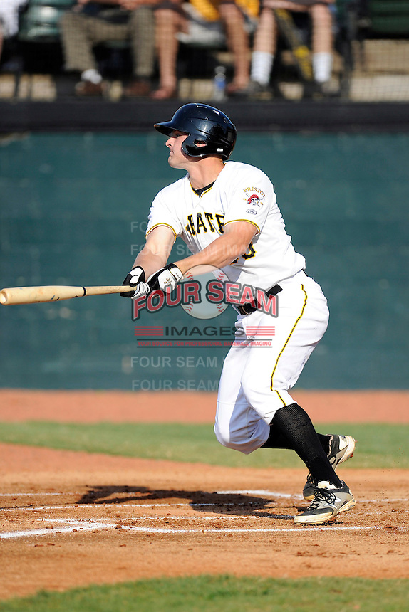 Designated hitter Jerrick Suiter (50) of the Bristol Pirates bats in a game against the Greeneville Astros on Saturday, July 26, 2014, at DeVault Memorial Stadium in Bristol, Virginia. Greeneville won, 2-1 in Game 1 of a doubleheader. (Tom Priddy/Four Seam Images)