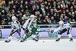 Stockholm 2014-01-10 Bandy Elitserien Hammarby IF - Sandvikens AIK :  <br />  Hammarbys Ulf Einarsson i kamp om bollen med Sandvikens Rasmus Forslund och Sandvikens Christoffer Edlund <br /> (Foto: Kenta J&ouml;nsson) Nyckelord: