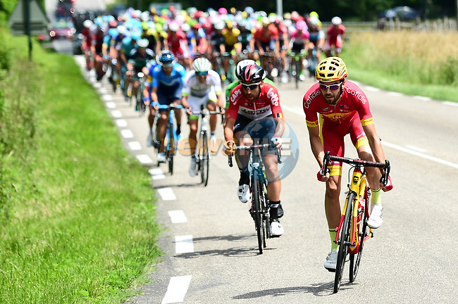 10km and the break tries to form featuring Spanish National Champion Jesús Herrada (ESP) Cofidis, Thomas De Gendt (BEL) Lotto-Soudal and Maillot Vert Daryl Impey (RSA) Mitchelton-Scott during Stage 4 of the 2018 Criterium du Dauphine 2018 running 181km from Chazey sur Ain to Lans en Vercors, France. 7th June 2018.<br /> Picture: ASO/Alex Broadway   Cyclefile<br /> <br /> <br /> All photos usage must carry mandatory copyright credit (© Cyclefile   ASO/Alex Broadway)