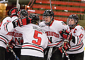 Stephanie Gavronsky (NU - 44), ?, Kelly Wallace (NU - 5), Kristi Kehoe (NU - 34), Lindsay Berman (NU - 13) - The Northeastern University Huskies defeated the Boston University Terriers in a shootout after being tied at 4 following overtime in their Beanpot semi-final game on Tuesday, February 2, 2010 at the Bright Hockey Center in Cambridge, Massachusetts.