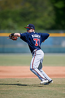 Atlanta Braves Marcus Mooney (71) during practice before a minor league Spring Training game against the Pittsburgh Pirates on March 13, 2018 at Pirate City in Bradenton, Florida.  (Mike Janes/Four Seam Images)