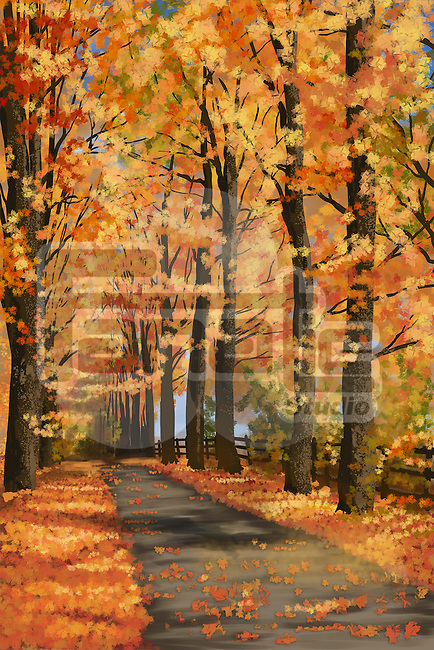 Illustrative image narrow street surrounded by trees in autumn